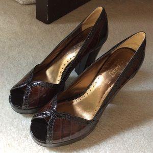 COACH Brown/ Black Peep Toe Heel